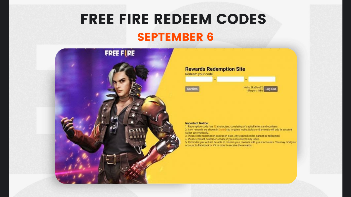Free Fire Redeem Codes September 6