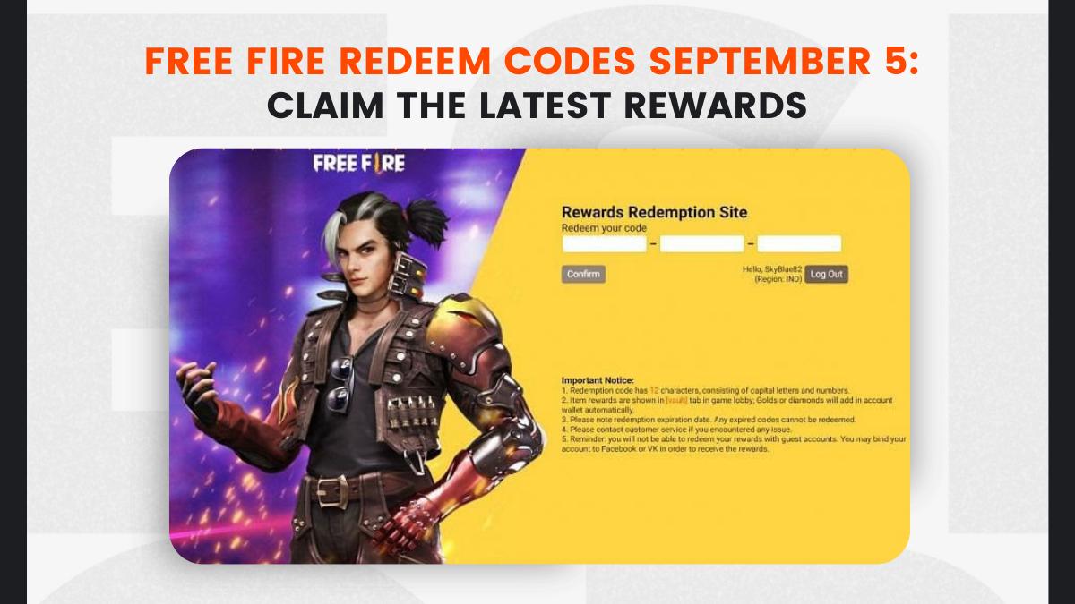 Free Fire Redeem Codes September 5